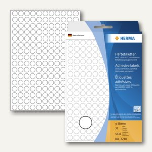 Herma Vielzweck-Etiketten, ø 8 mm, weiß, 5 x 5.632 Stück, 2210