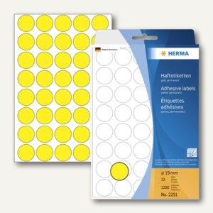 Herma Vielzweck-Etiketten, ø 19 mm, gelb, 5 x 1.280 Stück, 2251