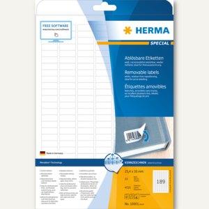 Herma Haftetiketten, 25.4 x 10 mm, weiß, DIN A4, Movables, 4.725 St., 10001