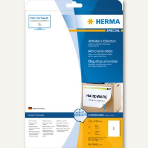 Herma Haftetiketten, 210 x 297 mm, weiß, DIN A4, Movables, 25 St., 10021