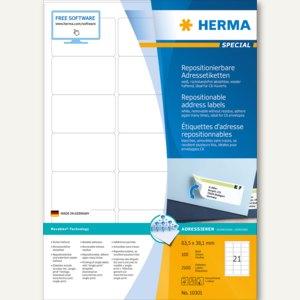 Herma Etiketten Movables, DIN A4, 63.5x38.1mm, weiß, 2.100 St., 10301