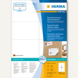 Herma Etiketten Movables, DIN A4, 99.1x67.7mm, weiß, 800 St., 10312