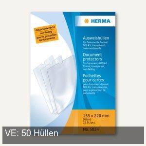 Herma Ausweishüllen 155 x 220 mm, für Dokumente DIN A5, 50 Stück, 5024