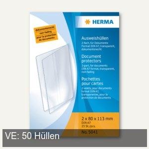 Herma Ausweishüllen 80 x 113 mm, 2 x DIN A7, Klapphüllen, 50 Stück, 5041