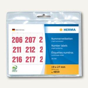 Herma Nummernetiketten 201-300, einfach, selbstkl., Aufdruck rot, 4859