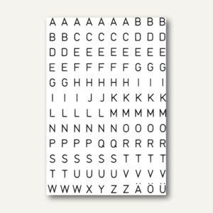 Herma Buchstaben, 5mm, A-Z, wetterfest, Folie transp., schwarz, 10x2 Bl., 4154