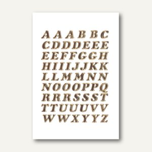 Herma Buchstaben, 8mm, A-Z, Prismaticfolie, gold glitzernd, 10 Blätter, 4192