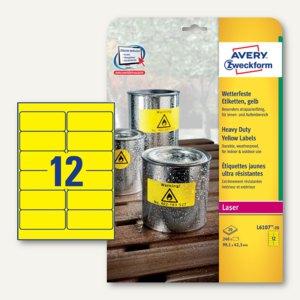 Zweckform Etiketten, wetterfest, 99.1 x 42.3 mm, gelb, 240 Stück, L6107-20