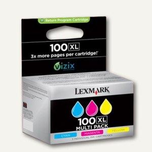Lexmark Tintenpatrone Nr.100XL, 3-farbig, 3 x 600 Seiten, 14N0850