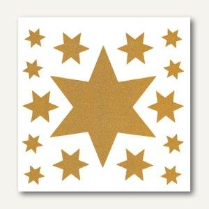 Herma Fensterbild, 30x30cm, Weihn.beglim., Sternengruppe gold, 75 Stück, 5962