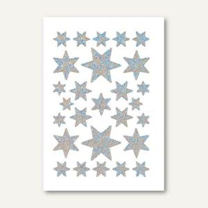 Herma Schmucketiketten, Sterne, Irisfolie, silber, 10 x 1 Blatt, 3917