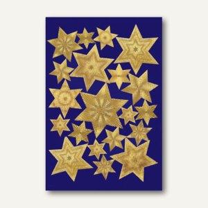 Herma Sticker DECOR Sterne, 6-zackig, Gravurfolie, gold, 10 x 1 Blatt, 3929