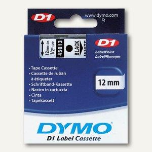 Dymo D1 Etikettenband, 12 mm x 7 m, schwarz auf weiß, S0720530