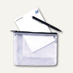 Rexel Mesh Bag Reißverschlusstasche DIN A5, farblos/schwarz, 10 Stück, 1300257