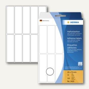 Herma Vielzweck-Etiketten, 20 x 75 mm, weiß, 5 x 320 Stück, 2420