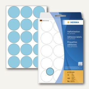 Herma Vielzweck-Etiketten, ø 32 mm, blau, 5 x 480 Stück, 2273