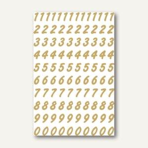 Herma Zahlen 0-9, 8 mm, wetterfest, Folie transparent, gold, 10 x 2 Blatt, 4151