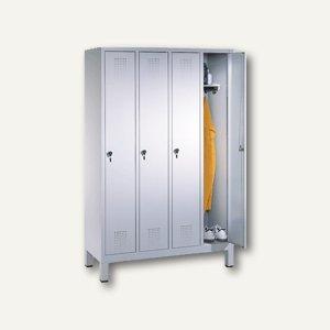EVOLO Garderobenschrank, H185xB119xT50 cm, lichtgrau, 4 Abteile, 48010-40-7035