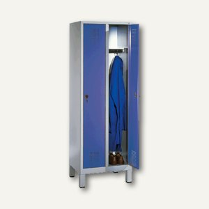 EVOLO Garderobenschrank, H185xB61xT50 cm, lichtgr/bl, 2 Abteile, 48010-20-7035