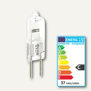 Halogen Stiftsockellampe mit UV-Schutz, Sockel GY6.35, 35W, 12V, 1100lx, 9392