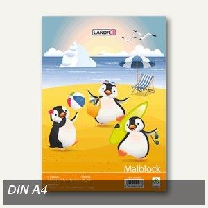 Malblock DIN A4, 70g/m², 100 Blatt, Deckblattmotiv mit Pinguinen, 100050458