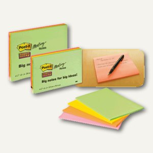 Post-it Meeting Notes, 200 x 149 mm, sortiert, 4 Blöcke, 6845-SSP