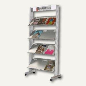 Paperflow Mobiler Prospektständer Silver Line XL, 4 Auflagen, Metall, 257TM.35