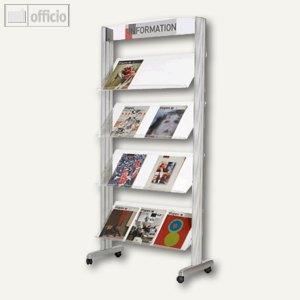 Paperflow Mobiler Prospektständer Clear Line XL, 4 Auflagen, Acryl, 257TT35
