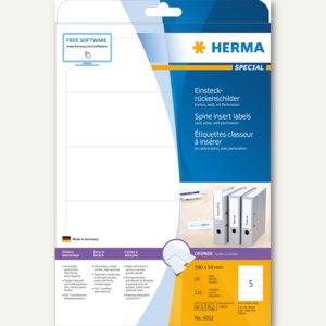 Herma Einsteckrückenschilder, Karton, auf DIN A4, 190 x 54 mm, 125 Stück, 5032