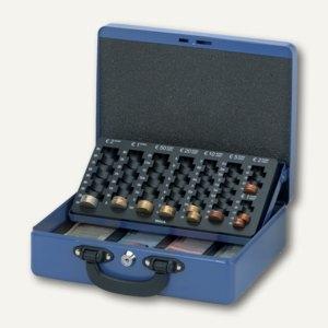 Geldkassette mit Euro-Zähleinsatz, 30 x 24,5 x 9,3 cm, blau, 56214 37, 5621437