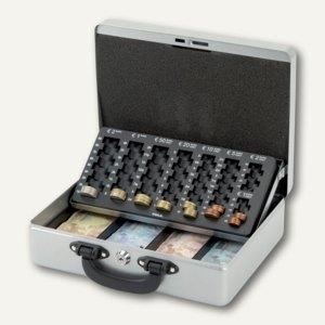 Geldkassette mit Euro-Zähleinsatz, 30 x 24,5 x 9,3 cm, silber, 56214 95, 5621495