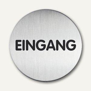 """Durable Edelstahl-Piktogramm """"Eingang"""", Ø 83mm, 2 Stück, 4925-61"""