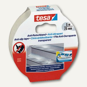 Tesa Anti-Rutschband - 5 m x 25 mm, transparent, 55587-00