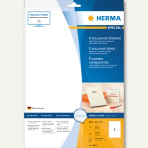 Herma Folien-Etiketten, InkPrint Special, 210x297mm, transparent, 10 Stück, 8964