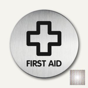 """Durable Edelstahl-Piktogramm """"First Aid"""", Ø 83 mm, 2 Stück, 4922-65"""