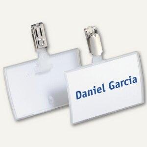 Durable Namensschild Click Fold, 90 x 54 mm, Hosenträgerclip, 25 Stück, 8216-19