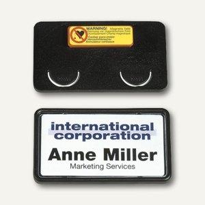Durable Namensschild Clip-Card mit Magnet, 40x75mm, schwarz, 25 Stück, 8129-01