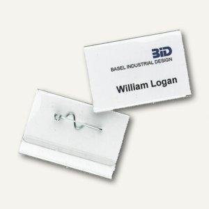 Durable Namensschild mit Wellennadel, 40 x 60 mm, transp., 100 Stück, 8100-19