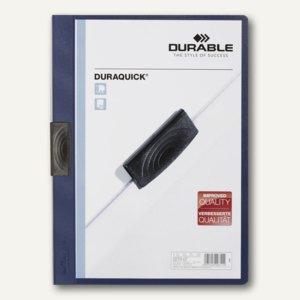 Durable Klemm-Mappe DURAQUICK, DIN A4, bis 20 Blatt, dunkelblau, 20 St., 2270-07