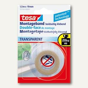 Tesa Montageband transparent, 1,5 m x 19 mm, 55743