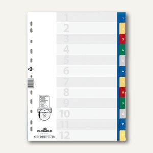 Register Kunststoff, 1-12, DIN A4, geprägt Taben, hoch volldeckend, 20St., 6750-