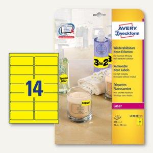 Zweckform Neon-Etiketten, wiederablösbar, 99.1 x 38.1mm, gelb, 350St., L7263Y-25
