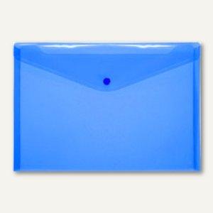 Dokumententaschen neutral DIN A4 quer, blau, Druckknopf, 100 St., 40911-44
