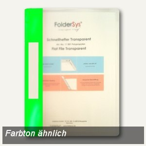 FolderSys Schnellhefter A4, PP, transparent grün, VE 40 Stück, 1100156