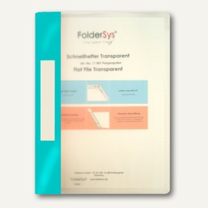 FolderSys Schnellhefter A4, PP, transparent türkis, VE 40 Stück, 1100159