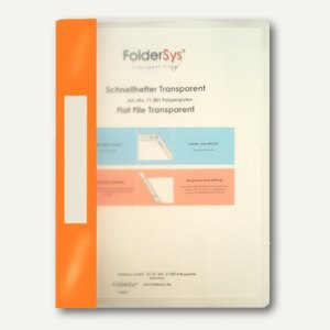 FolderSys Schnellhefter A4, PP, transparent orange, VE 40 Stück, 1100169