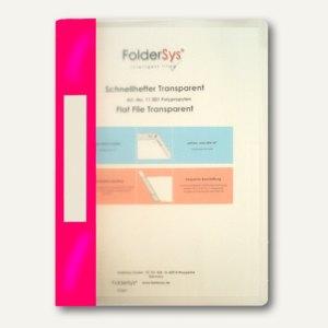 FolderSys Schnellhefter A4, PP, transparent pink, VE 40 Stück, 1100186