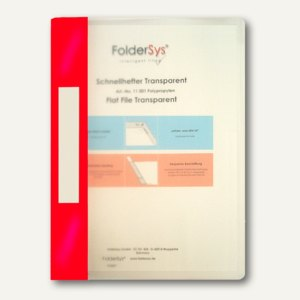 FolderSys Schnellhefter A4, PP, transparent rot, VE 40 Stück, 1100187