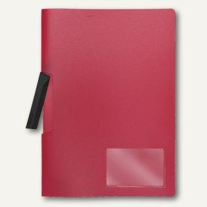 FolderSys Klemm-Mappe A4, PP, bis 50 Blatt, rot, 40 Stück, 1300280