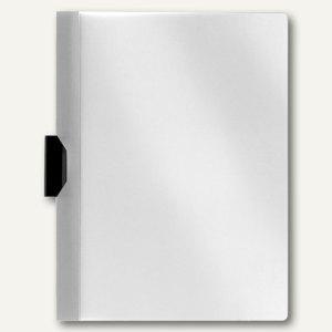 FolderSys Klemm-Mappe A4, PP, bis 40 Blatt, weiß, VE 50 Stück, 1300310